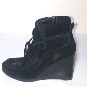 Franco Sarto Black Suede Lace Up Wedge Bootie Sz 9